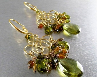 20 Off Olive Green Quartz With Green Tourmaline Gold Plated Earrings