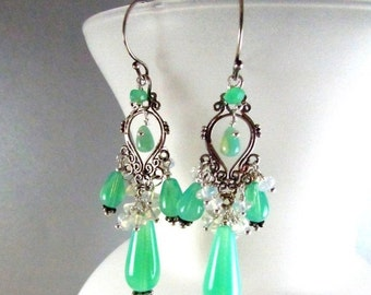 25% Off Opalite and Sterling Silver Cluster Wire Wrapped Chandelier Earrings