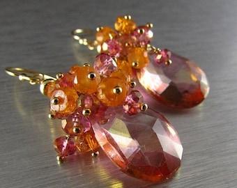 25 % OFF Pink Mystic Quartz With Mandarin Garnet Gold Filled Cluster Earrings