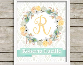 Personalized nursery print baby girl nursery wall decor nursery wall art girl wall art yellow gray teal nursery artwork personalized baby