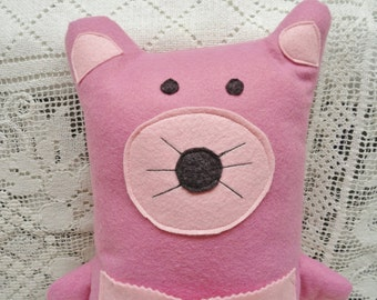 Plush Doll Toy, Bear Pillow, Pink Violet Wool, Stuffed Bear, Travel Toy