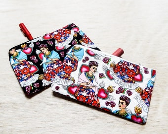 Frida Kahlo Pouch, Zipper Pouch, Pencil Pouch, Cosmetic Bag, Fabric Pouch, Gift for Mom, Frida Fabric Pouch, Frida Pouch in White or Black