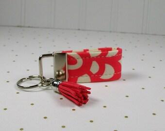 Mini Key Fob with Tassel, Mini Fabric Key Fob with Tassel, Wallflower in Cherry