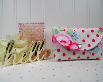 Small Snap Pouch, Valentine Pouch, Roses Pouch ... Flower Sugar 2016 White/Red Rose Dot, Lecien Sweet Carnival Rose Dot