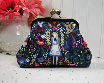 Metal Frame Purse, Frame Purse Clutch, Kiss Lock Purse ..Wonderland, Alice in Navy, Rifle Paper Co