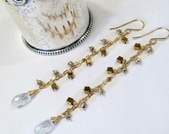 30% SALE Long Pyrite Dangle Earrings Chain Dangle Wire Wrap White Rock Crystal Metallic Stone Shoulder Duster Earrings Prom Gala Boho Chic