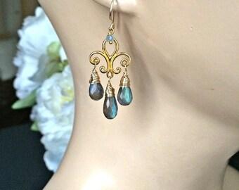 PRESIDENTS DAY SALE Labradorite Chandelier Earrings, Gold Fleur de Lis, Wire Wrap Blue Flash Labradorite Earrings, Boho Chic, Bohemian Luxe