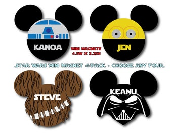 Disney Inspired Star Wars Mini Mouse Head Magnet 4-Pack - Choose Any Four - For Your Disney Cruise
