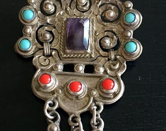 Vintage Matl Salas Hinged Sterling Necklace Beveled Amethyst Turquoise Coral Cascabels Hinged Pendant Brooch Mexico City DF Mexican Taxco