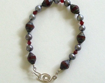 Red and Silver Bicone Shaped Czech Glass Beads, Silver Glass Beads, Red Crystals Bracelet by Carol Wilson of Je t'adorn