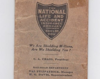 used 1923 national life and accident enginemen and trainmen railroad time book