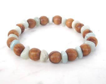 Olive wood amazonite bead bracelet, boho beaded stone bracelet, bohemian earthy stacking bracelet, yoga chunky armband, wood bangle bracelet