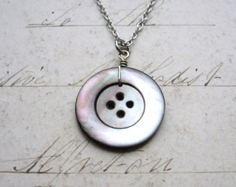 Button Beauty - Antique Shell Button on Antiqued Silver Chain Handmade Necklace with Gift Box