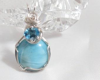 Larimar and Blue Topaz OOAK pendant