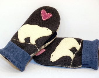 Wool Mittens Recycled Felted Wool Polar Bear in Dark Blue Red and White with Applique and Leather Palm Fleece lining  Size S/M