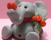Valentine Elephant polymer clay figurine