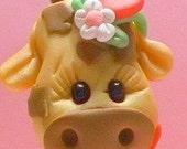 Valentine giraffe polymer clay figurine