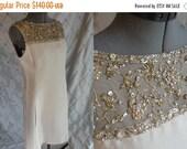 ON SALE 60s Dress //  Vintage 1960s Cream Gold Linen Illusion Beaded Dress Size M L Shannons label