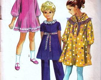 Vintage Sewing Patterns 1970s Childs Girls Dress Scarf Pants Pattern Kids 70s Fashion Pattern Retro Hipster Kid Simplicity 9188 DIY Size 4
