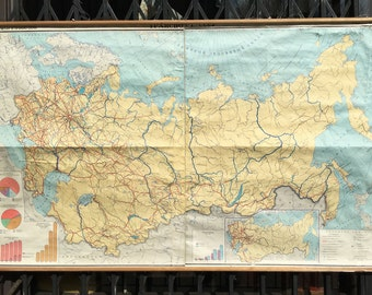 Vintage Cold War Era School Classroom Map of Sovie Transport Routes