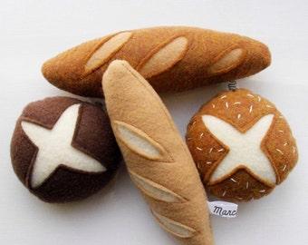 4 pack felt bread rolls and mini baguettes