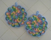 Crocheted Pair of Scalloped Pot Holders - Spring Pastels
