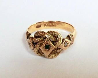 Edwardian 18K Lovers Knot Ring Green Garnet Rose Cut Diamond Accents