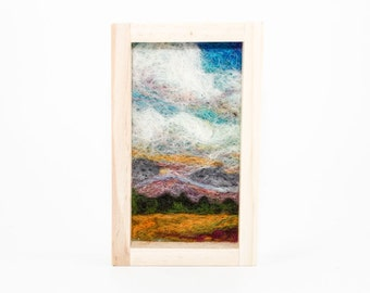 Needle Felted Landscape - Amber Waves of Grain & Purple Mountains Majesty 3x5 - Natural Wood Frame