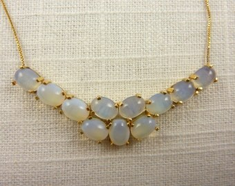 Vintage 14K and Moonstone Cluster Drop on Italian Snake Chain Necklace