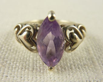 Vintage Size 6 Sterling and Amethyst Ring