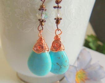 Turquoise Earrings, Dangle Briolette Earrings, Turquoise and Copper, Handcrafted Jewelry, Boho Jewelry, Wirewrapped  Gemstone Earrings