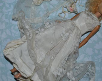 Vintage Barbie Clone Wedding Dress with Veil and Bouquet