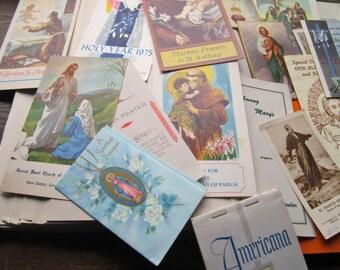Vintage Religious Ephemera * Biblical * Saints and Patrons * 1950's 1970's Prayer Cards * Church Information * Godly Spiritual * Life Death