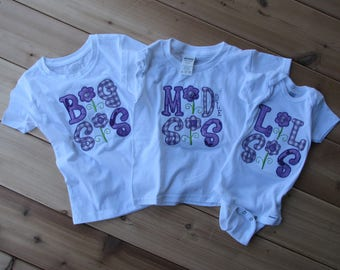 Embroidered Big Sister, Little Sister shirts