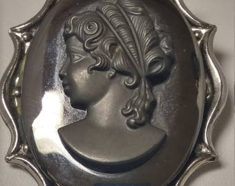 Silver Hematite Cameo Brooch Pin, Left Facing Raised Bust Jewelry #B424
