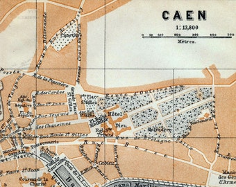 Antique Map of Caen, France - 1905 Vintage City Map - Old City Map