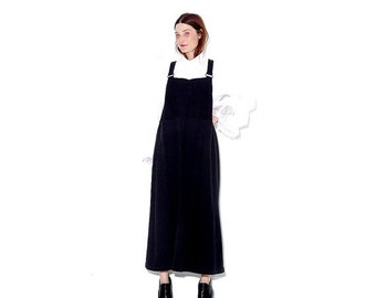 OMG HALF OFF 90s Black Jersey Knit Overall Dress xs small medium // overalls jumper dress maxi dress 90s clothing 90s grunge goth minimalist