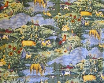 Free Shipping! Spring Surprises by Hoffman International Fabrics. Farm Scene. 1/2 Yard. 17004