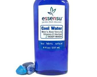Cool Water Men's Aloe Vera Vitamin E Herbal Natural Body Wash | Suitable For Sensitive Skin | Non-Drying | No Sulfates | Vegan - 8 oz