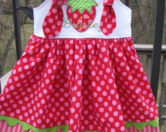 red  strawberry knot dress. strawberry birthday, strawberry shortcake, 1st birthday dress, 2nd birthday, strawberry birthday, smash cake