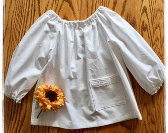 Girls, Tunic, Blouse, Top, Peasant mini dress, white, lace , long sleeves, pocket, comfortable, classic, timeless, party, fall, winter
