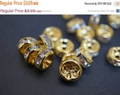 WINTER GEM SALE 18K Gold Plated Rhinestone Rondelle Spacers (Straight Round)  - 7mm - 15 pcs