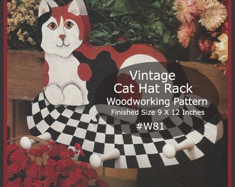 Cat Hat Rack Wood Pattern Coat Rack Cat Wood Pattern Vintage Cat Pattern Enlarged To Scale  #W81-PDF File  Available Mailed-  DurhamDeals