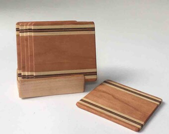Set of 6 Handmade Wooden Coasters, FREE SHIPPING with Purchase of any Pottery, Cherry, Poplar and Walnut, Ready to Ship for the Holidays