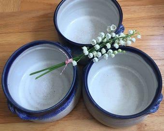 SALE.SALE.SALE. Stoneware Crocks, Deep Blue and White, Ships Fast, Serving Crocks with Twisting Handles, Chili Bowls, Soup