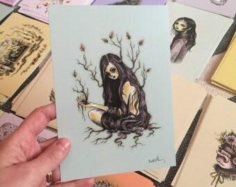 Creepy Tree Ghoul Drawlloween print