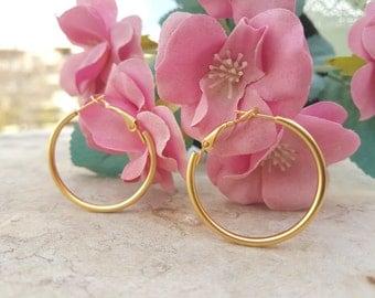 Large Hoops, Modern Matte Gold Plated Hoop Earrings
