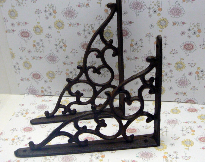 Shelf Bracket Cast Iron Vine Wall Unpainted Brace DIY Home Improvement 1 Pair