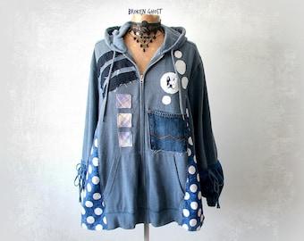 Plus Size Hoodie Upcycled Jacket Women Art Clothes Funky Clothing Blue Hooded Top Denim Recycle Loose Hoodie Grunge Sweatshirt 1X 2X 'JORDAN