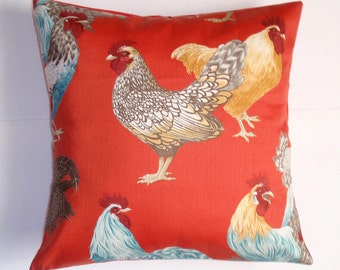 "Throw Pillow Cover, Handmade Chicken Pillow Cover, Country Chickens Cushion Cover, Hen House in Red Throw Pillow Cover, 16x16"" - LAST ONE"